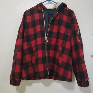 H&M Oversized Jacket in red plaid print, size 10